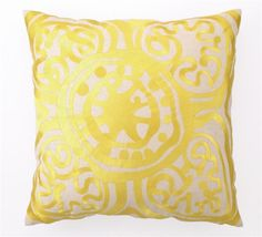 Rustic Medallion Embroidered Pillow in Yellow design by Trina Turk | BURKE DECOR
