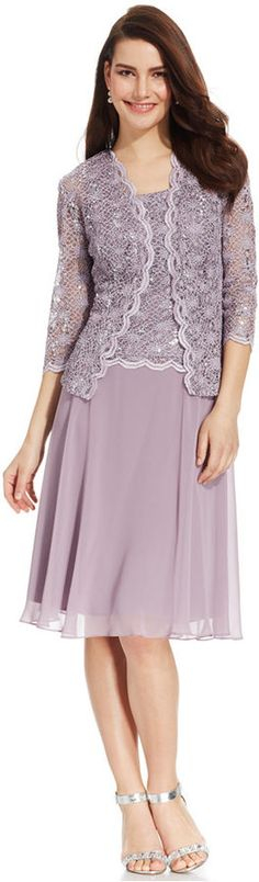 R & M Richards R&M Richards Sequined Lace Chiffon Dress and Jacket