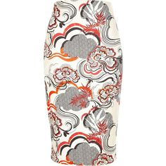 River Island Orange floral print pencil skirt (925 RUB) ❤ liked on Polyvore featuring skirts, bottoms, sale, river island, pencil skirt, floral print skirt, summer pencil skirt and tall skirts