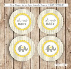 Sweet Baby Elephant Party Chevron Yellow Grey by thespottedpixel