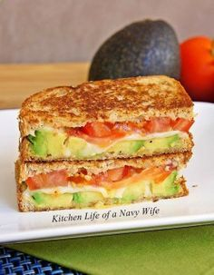 Avocado, Mozzarella and Tomato Grilled Cheese. Ive had this so many times I love it! Its like the adult grilled cheese lol