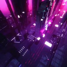 Cyberpunk city view corel photoshop neon colors lights pink purple black new retro wave synthwave Cyberpunk City, Ville Cyberpunk, Arte Cyberpunk, Cyberpunk Aesthetic, City Aesthetic, Futuristic City, Aesthetic Images, Aesthetic Videos, Futuristic Architecture