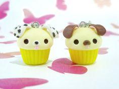 Kawaii Dog Cupcake Charm Pair, Polymer Clay Handmade, Best Friend Charms, Cute Gift