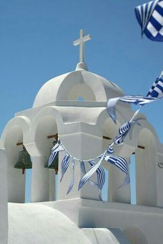 """""""The of March is day of celebration for both Greek Independence Day, and the Annunciation of the Theotokos. It is a national holiday in Greece and a…"""" Albania, Beautiful World, Beautiful Places, Simply Beautiful, Greek Flag, Greek Isles, Place Of Worship, Europe, Kirchen"""