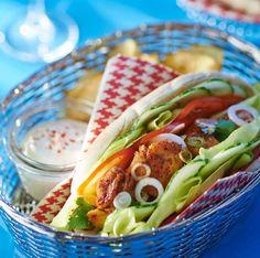 Kebab de poulet en pain pitaVoir la recette du kebab de poulet en pain pita