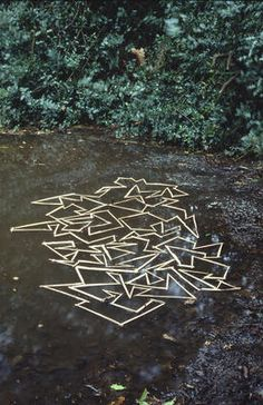 Andy Goldsworthy - Hogweed stalks floating on pond Hampstead Heath, London 15 December 1985 Outdoor Sculpture, Outdoor Art, Sculpture Art, Metal Sculptures, Abstract Sculpture, Bronze Sculpture, Land Art, Andy Goldsworthy Art, Environmental Sculpture