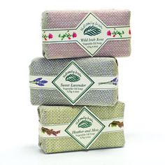 Naturally Irish 3 pack soap.This set includes Sweet Lavender (oils distilled from a lavender field in County Wicklow), Wild Irish Rose and Heather & Moss - heather is known for its healing powers and moss for its soothing properties. The set of three 4.4oz soaps comes gift boxed.$29.98 http://paradiseinternetmall.net/FAMILY.html