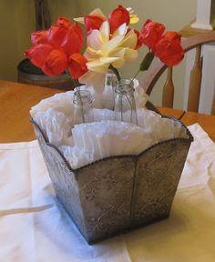 Crepe paper flower tutorial. Nice centerpiece