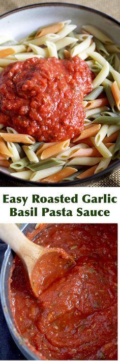Easy Roasted Garlic Basil Tomato Sauce - bring on the pasta and start eating dinner!   honeyandbirch.com