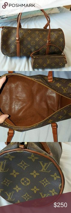 Authentic Louis Vuitton Papillion 30 w. Pouch Authentic Louis Vuitton Papillion 30 with little pouch.  The Papillion 30 is in good condition,  outside monogram is good,  inside is clean, this is the old model uses brown leather, leather strap are showing aging. Zipper very smooth. Datecode is 825.  Little pouch is ok, zipper not as smooth, the strap has split a little bit. Louis Vuitton Bags Shoulder Bags