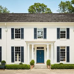 I am and thrilled to share my house as well as the places I love in Tuxedo Park in the Buckhead… Colonial House Exteriors, White Exterior Houses, Colonial Exterior, Exterior Paint Colors For House, Exterior Design, Exterior Colors, Tan House, Shutter Colors, White Shutters