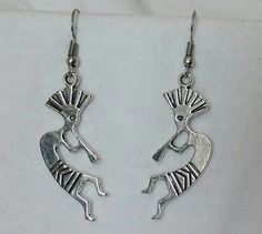 Beautiful pair of Silver Earrings with Kokopelli and Hypoallergenic Surgical Steel Ear Wires by COOLSTUFFGOODPRICES on Etsy