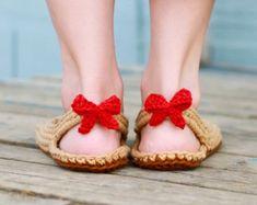 Crochet patrones Flip flop niño adulto tamaño 3-10 por Mamachee