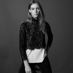 Two-tone lace top - Tops & Shirts - Sandro-paris.com