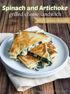 Spinach and Artichoke Grilled Cheese Sandwich | I Wash You Dry. So easy made with @Pillsbury Pizza Dough! @Shawn {I Wash You Dry} #grilledcheese