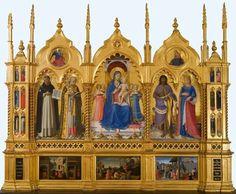 Pala di Perugia.  1438. Tempera su tavola. Galleria Nazionale dell'Umbria e Pinacoteca Vaticana.  Commissionata per la cappella di san Nicola in San Domenico a Perugia