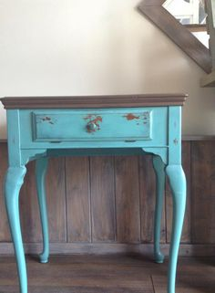 Shabby Chic table chalk painted with Superior Paint Co. Coco Brown and Blue Lagoon. Teal Colors, Paint Colors, Painted Side Tables, Shades Of Teal, Blue Lagoon, Furniture Making, Chalk Paint, End Tables, Painted Furniture