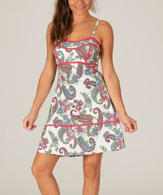 Another great find on #zulily! Pink & Green Paisley Seam-Accent A-Line Dress by Mode Femme #zulilyfinds