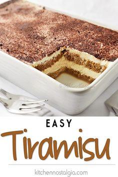 Tiramisu is a classic Italian no-bake dessert made with layers of ladyfingers and mascarpone custard cream (no raw eggs! Truly the best homemade tiramisu. No Bake Tiramisu Recipe, Tiramisu Recipe Without Eggs, Tiramisu Trifle, Homemade Tiramisu, Tiramisu Recipe With Cream Cheese, Simple Tiramisu Recipe, How To Make Tiramisu, Vegan Tiramisu, Puddings