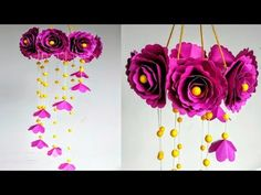 Beautiful Paper Crafts Diy Wind Chime With Beautiful Paper Roseswall Hangingpaper Craft Paper Flowers Craft, Paper Flower Wall, Paper Flower Backdrop, Giant Paper Flowers, Flower Crafts, Diy Flowers, Paper Crafts, Diy Paper, Tissue Paper