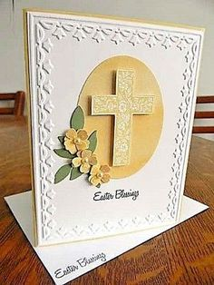 EASTER-BLESSINGS-Handmade-Handstamped-Greeting-Card-CROSS-WITH-FLOWERS-Saffron