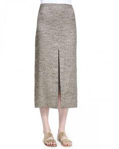 the Row Women's Lakima Long Slit Skirt Oak Melange Oak Melange 0   Clothing
