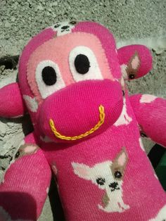 Check out this item in my Etsy shop https://www.etsy.com/uk/listing/249841212/sock-monkey-pink-with-chihuahuas