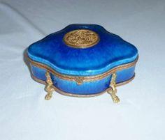 ANTIQUE SEVRES PM P.MILET BLUE PORCELAIN FRENCH BRONZE MOUNT JEWELRY CASKET BOX