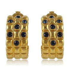 1960S Vintage Gold Half Hoop Crystal Earrings