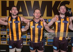 Luke Hodge of the Hawks (L) and Sam Mitchell (C) and Matt Suckling of the Hawks of the Hawks celebrate the win during the round 20 AFL match between the Geelong Cats and the Hawthorn Hawks at Melbourne Cricket Ground on August 15, 2015 in Melbourne, Australia.