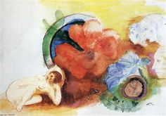 Nude, Begonia and Heads - Odilon Redon
