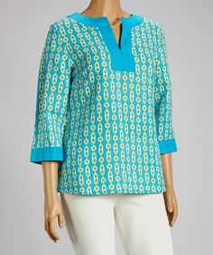 Look at this #zulilyfind! Turquoise Notch Neck Top - Plus by Joy Mark #zulilyfinds