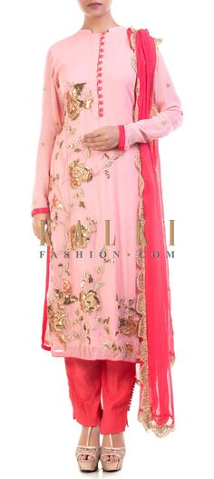 Buy Online from the link below. We ship worldwide (Free Shipping over US$100) Price- $159 Click Anywhere to Taghttp://www.kalkifashion.com/pink-embroidered-tunic-with-cigarette-pants.html