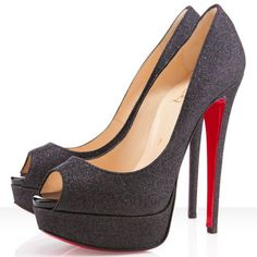 Black Christian Louboutin Lady Peep Spikes 140mm Glitter