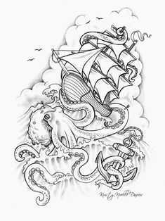 Sinking Ship Tattoo Design by kirstynoelledavies on Dev.Octopus Sinking Ship Tattoo Design by kirstynoelledavies on Dev. Angst Tattoo, Fear Tattoo, Kraken Tattoo, Tattoo Bein, Pin Tattoo, Squid Tattoo, Trendy Tattoos, Cute Tattoos, Unique Tattoos