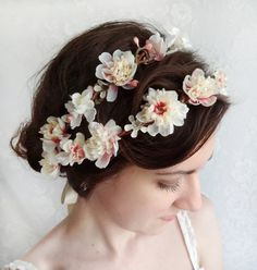 ivory flower crown bridal floral crown pink by thehoneycomb