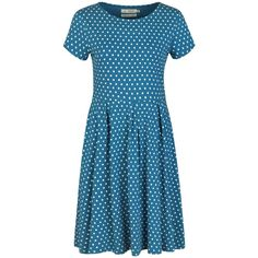 Seasalt Riviera Dress, Polka Dot Shore (4.290 RUB) ❤ liked on Polyvore featuring dresses, fit and flare cocktail dress, full midi skirt, blue cocktail dress, cocktail dresses and blue polka dot dress