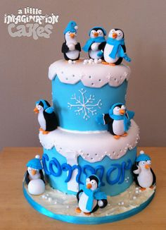 Penguin 1st Birthday Cake by A Little Imagination Cakes