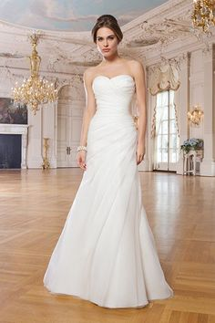 Organza A-line draped dress with sweetheart neckline by Lillian West, $900.Check out more gorgeous dresses in our Lillian West wedding gown gallery ?