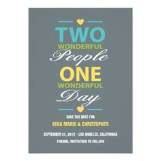 Wonderful People Wonderful Day Save The Date Personalized Invites