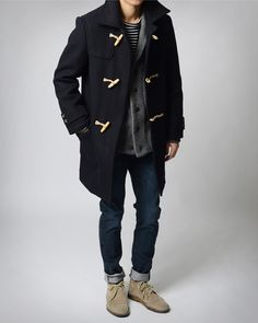 Navy Wool Toggle Coat, Fitted Jeans, and Chukka Boots. Men's Fall Winter Fashion.