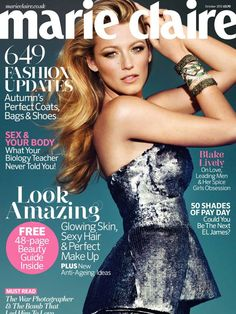 Marie Claire magazine Blake Lively Fall fashion Coats Bags Shoes Hair and makeup Marie Claire, Uk Fashion, Autumn Fashion, Fashion Shoes, Fashion Black, Fashion Rings, Fashion Magazine Cover, Magazine Covers, Blake Lively Style
