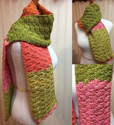 Crochet Scarf, Pink and Green Scarf, Shell Stitch Scarf, Coral Scarf, Pink Crochet Scarf, Pink Winter Scarf, Unisex Scarf, Color Block Scarf by CozyNCuteCrochet on Etsy