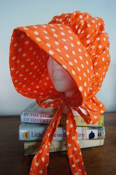 Ingalls Bonnet Pattern   ... Dress up Orange Polka Dot Sun Bonnet Little House on the Prairie Style