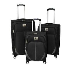 Chariot Imperia 3 Piece Lightweight Upright Spinner Luggage Set Black One Size ** To view further for this item, visit the image link.