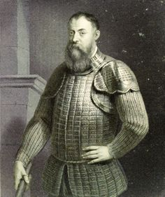 Hugh O'Neil, Earl of Tyrone. Originally an officer of Elizabeth I in Ireland, he later changed sides and organized a rebellion against her.