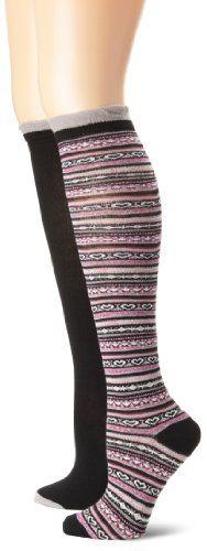 Jessica Simpson Women�s Heart Fairisle and Solid 2 Pair Knee High Sock Pack
