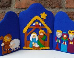 Nativity triptych DIY felt kit by OwlsCityCreations on Etsy