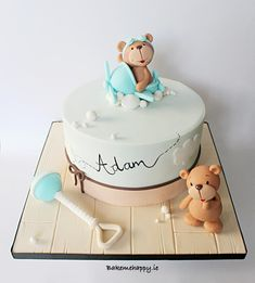 Best Teddy Bears Images On Teddy Bear Cakes Teddy Baby Shower Cakes With Teddy Bears X Pixels Torta Baby Shower, Baby Boy Shower, Baby Birthday Cakes, Baby Boy Cakes, Girl Cakes, Gateau Baby Shower Garcon, Bolo Minion, Christening Cake Boy, Teddy Bear Cakes