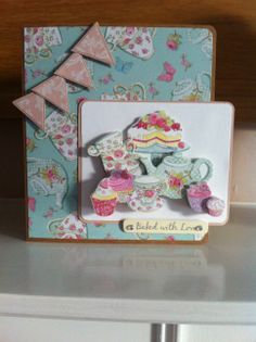 Handmade vintage tea party card using Dovecraft Cupcake Boutique collection